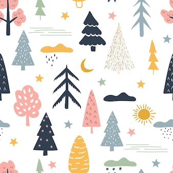 Niesamowity las. wzór w stylu skandynawskim.