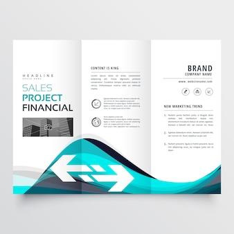 Niesamowity niebieski trifold broszura biznesowa ulotka projekt ulotki