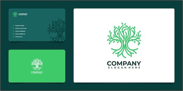 Niesamowity pomysł na logo drzewa w stylu grafiki liniowej