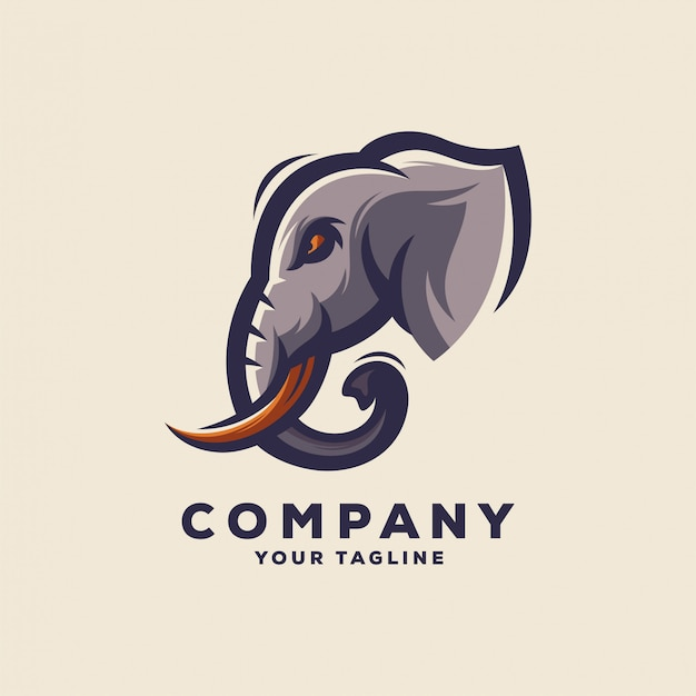 Niesamowity projekt logo głowy słonia