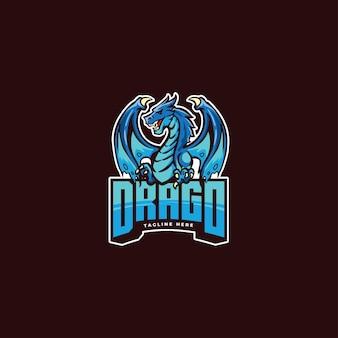 Niesamowity smok maskotka kreskówka szablon logo nadaje się do drużyny e-sportowej