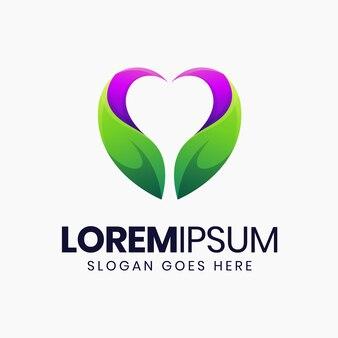 Niesamowity szablon logo gradientowego serca