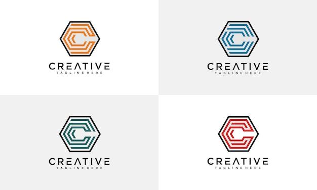 Niesamowity szablon logo sześciokąta litery c.
