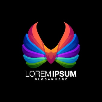 Niesamowity szablon projektu kolorowe logo skrzydła