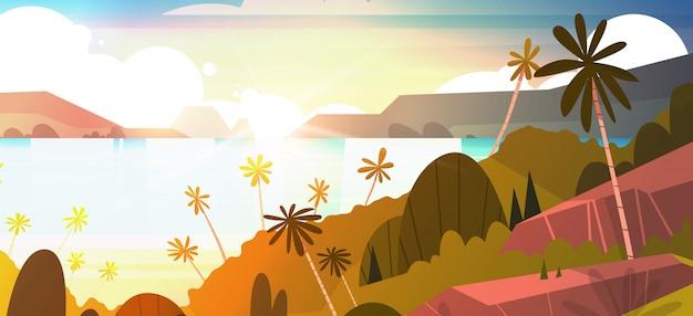 Niesamowity zachód słońca nad morzem poziome ilustracja, tropikalna plaża lato krajobraz z palmowego egzotycznego kurortu