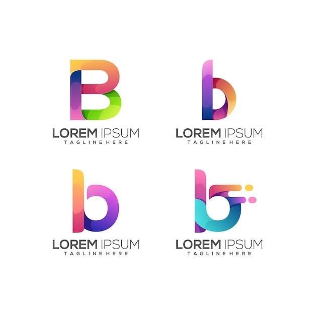 Niesamowity zestaw b list logo kolorowe streszczenie