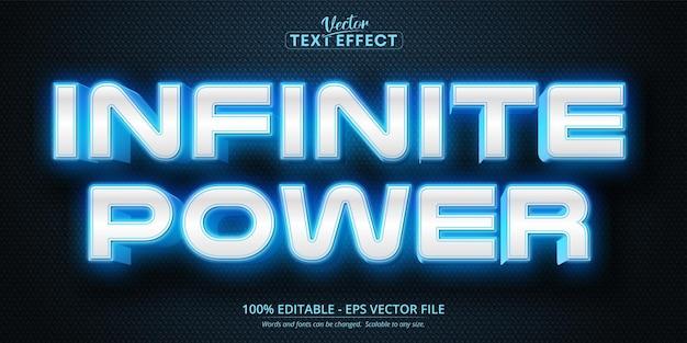Nieskończona moc edytowalny efekt tekstowy w stylu neonowym