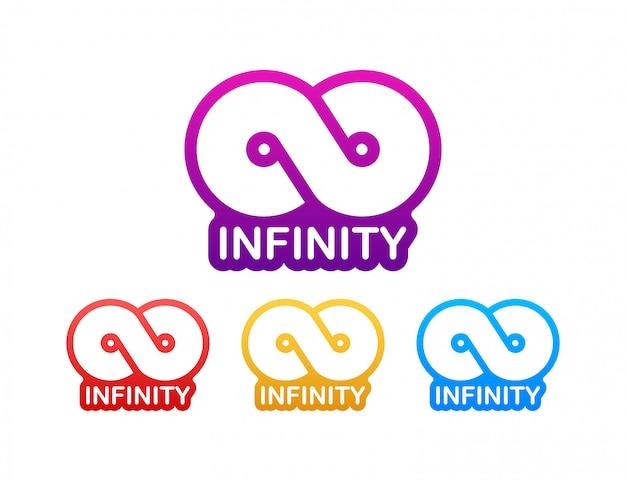 Nieskończoność w abstrakta stylu na białym tle. okrągłe logo. przyszła koncepcja. ilustracji.