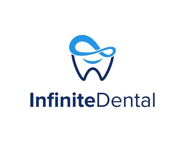 Nieskończoność z zębami stomatologicznymi i uśmiechem szczęśliwa prosta, elegancka, geometryczna, nowoczesna konstrukcja logo