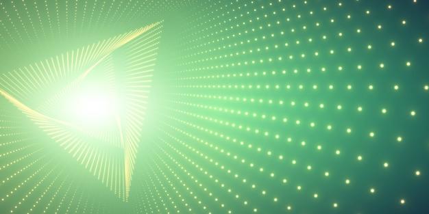 Nieskończony kręcony tunel i światło trójkąta