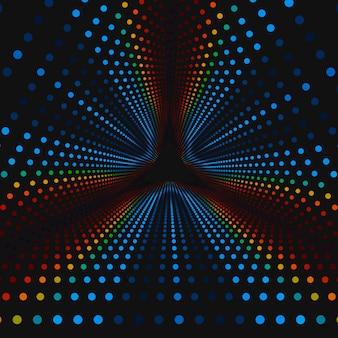 Nieskończony trójkątny tunel kolorowych kół na ciemnym tle. kule tworzą sektory tunelowe.