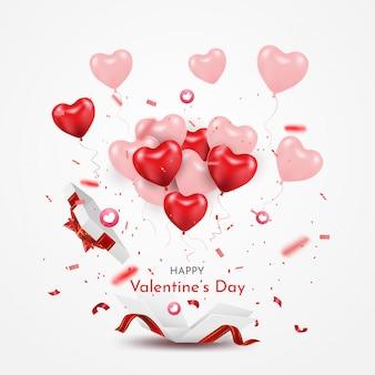 Niespodzianka białe pudełko z czerwoną wstążką i balonami 3d serca. otwórz pudełko na białym tle. szczęśliwych walentynek i imprez.