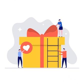 Niespodzianka ilustracja koncepcja pudełko prezent z postaciami. osoby pakujące prezenty i dekorujące wstążką.