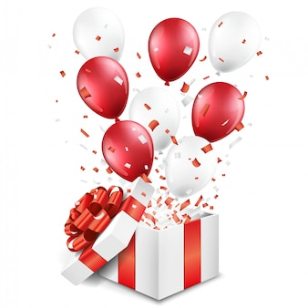 Niespodzianka otwarte pudełko z balonami i konfetti