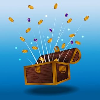 Niespodzianka pieniądze złota moneta od rocznika drewnianego pudełka skarbu