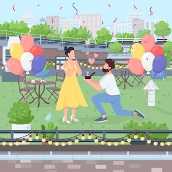 Niespodzianka propozycja małżeństwa płaski kolor. chłopak proponuje na kolanie pierścionek z brylantem. przyjęcie zaręczynowe na dachu. para postać z kreskówki 2d z krajobrazem w tle