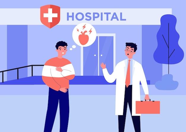 Niespokojny pacjent idzie do szpitala z bólem serca. lekarz, choroba, ilustracja wektorowa płaski zdrowia