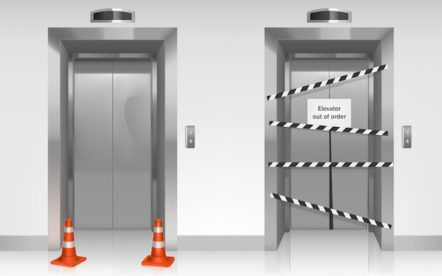 Niesprawna winda z zamkniętymi uszkodzonymi drzwiami