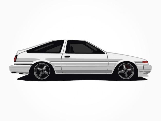 Niestandardowa biała ilustracja samochodu