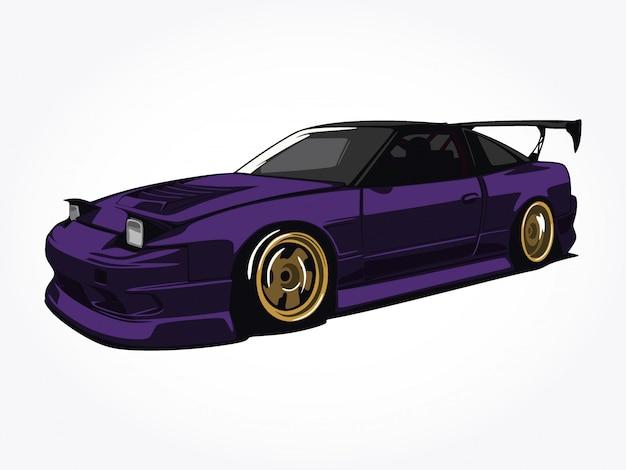 Niestandardowa fioletowa ilustracja samochodu
