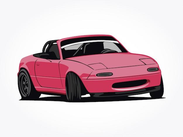 Niestandardowa śliczna różowa samochodowa wektorowa ilustracyjna sztuka