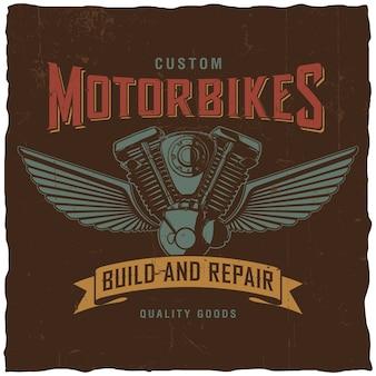 """Niestandardowy plakat motocyklowy ze słowami """"buduj i napraw"""" z ręcznie rysowanym silnikiem motocyklowym"""
