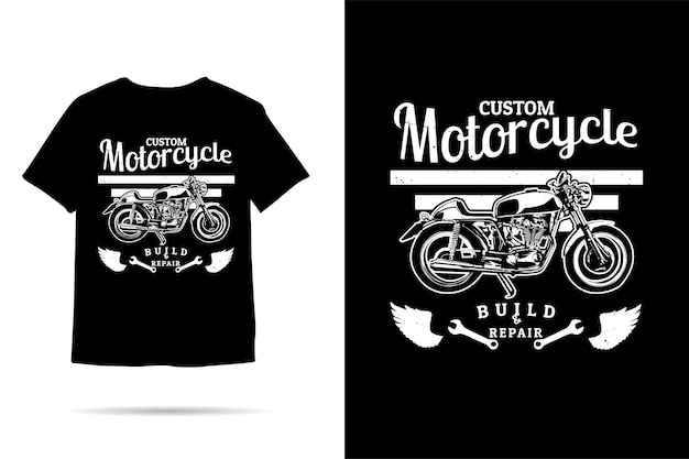 Niestandardowy projekt koszulki o sylwetce motocykla