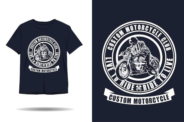 Niestandardowy projekt koszulki z sylwetką klubu motocyklowego