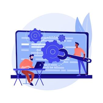 Niestandardowy skrypt w stylu. optymalizacja stron internetowych, kodowanie, tworzenie oprogramowania. kobieta-programistka z kreskówki pracująca, dodająca javascript, kod css.