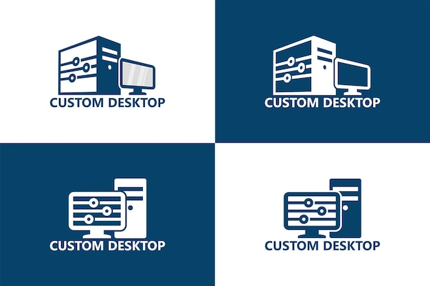 Niestandardowy szablon logo komputera stacjonarnego wektor premium