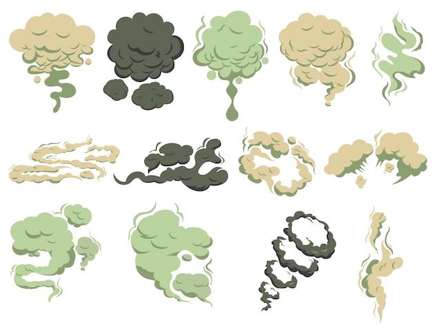 Nieświeży zapach, wydobywający się dym pary. smród pary, zapach smrodu. zielony toksyczny zapach smrodu.
