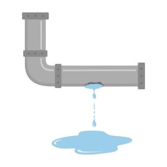 Nieszczelna rura z płynącą wodą