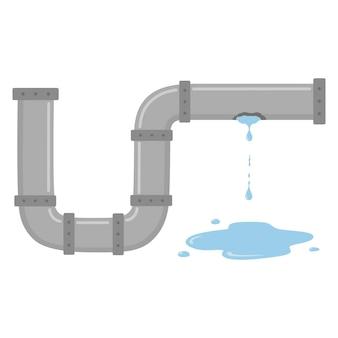 Nieszczelna Rura Z Płynącą Wodą Premium Wektorów