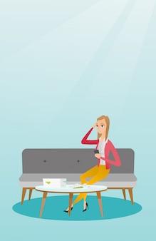 Nieszczęśliwa caucasian kobieta rozlicza domowych rachunki.