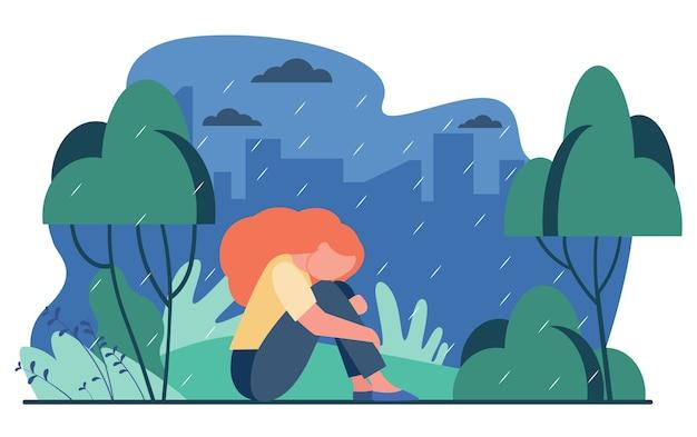 Nieszczęśliwa dziewczyna w deszczu. smutna kobieta siedzi w deszczowym parku na zewnątrz płaski wektor ilustracja. depresja, stres, samotność