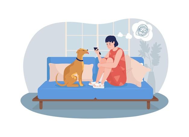 Nieszczęśliwa dziewczyna w domu 2d na białym tle ilustracja. patrząc na ekran telefonu.