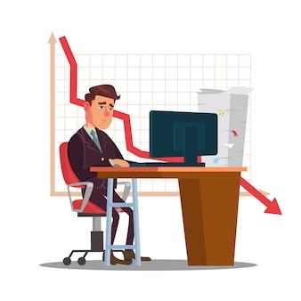 Nieszczęśliwa handlowiec mężczyzna ilustracja