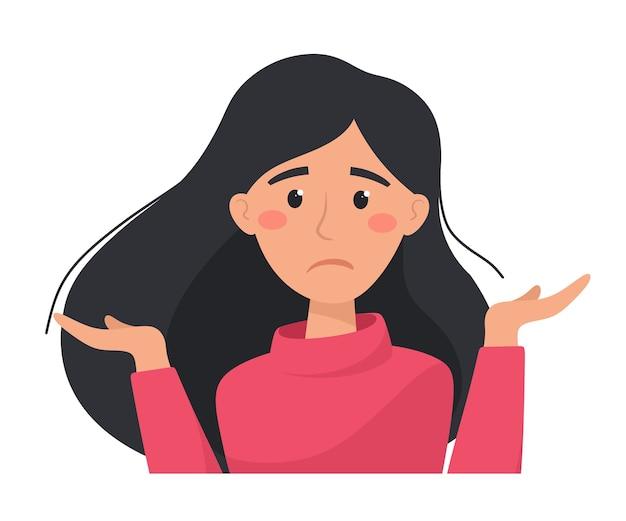 Nieszczęśliwa i zdenerwowana kobieta wykonuje bezradny gest. ilustracja w stylu płaski.
