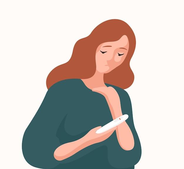 Nieszczęśliwa kobieta trzyma negatywny wynik testu ciążowego płaskie ilustracji wektorowych. smutny problem płodności kobiet zdenerwowany na białym tle. kłopoty z układem rozrodczym, niemożność zajścia w ciążę.