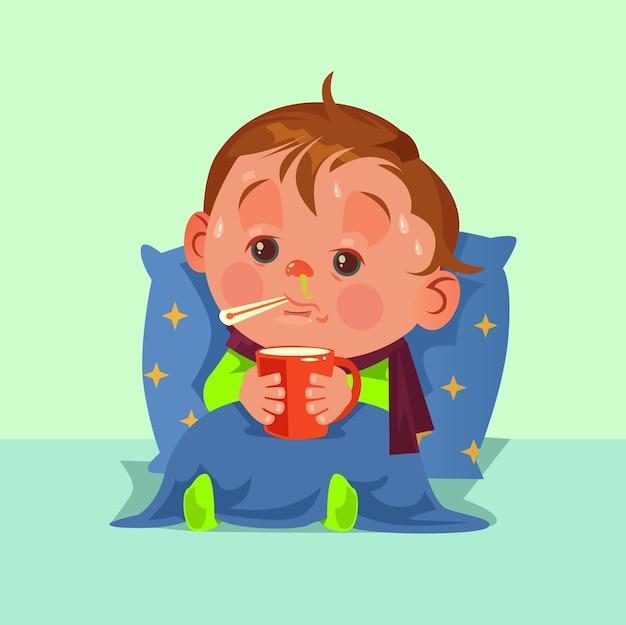 Nieszczęśliwa, smutna choroba, postać małego dziecka ma gorączkę grypową, katar i złe samopoczucie.