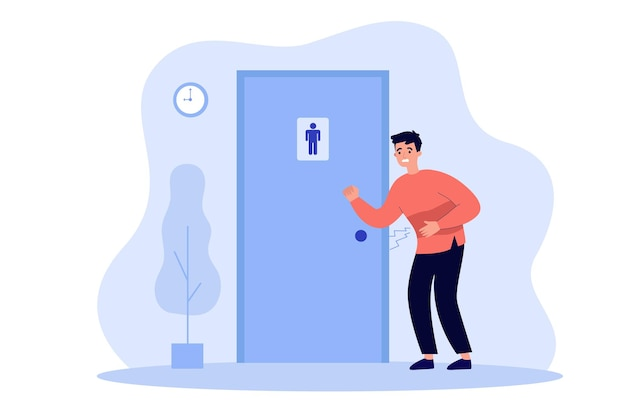 Nieszczęśliwy człowiek cierpiący na biegunkę, pukający do publicznych drzwi łazienki