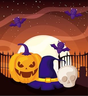 Nietoperza latanie z banią na halloween scenie
