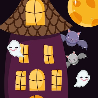 Nietoperze ghost house moon halloween
