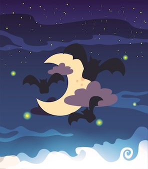 Nietoperze latające w scenie halloween