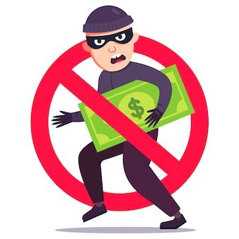 Nieudana kradzież pieniędzy. przekreślony znak włamywacza z dolara. mieszkanie .