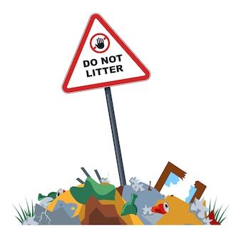 Nieuprawnione składowiska odpadów w strefie zabronionej.
