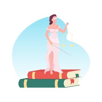 Niewidoma kobieta sprawiedliwości 2d baner internetowy, plakat. proces w sądzie. bogini z zasłoniętymi oczami. femida z łuską płaski charakter na tle kreskówki. naszywka do wydrukowania prawo i wyrok, kolorowy element sieciowy