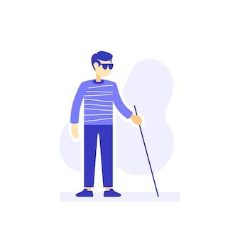 Niewidomy człowiek z okularami przeciwsłonecznymi i laską spaceru, płaska ilustracja