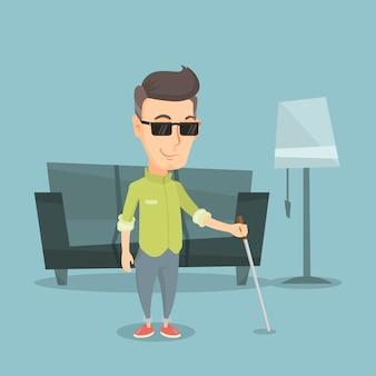 Niewidomy mężczyzna z kija wektoru ilustracją.