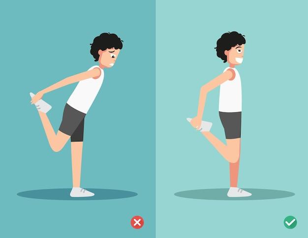 Niewłaściwe i prawidłowe rozciąganie przedniej części uda, ilustracji wektorowych